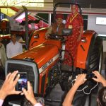 Agriculture Minister of Rajasthan - Sri. Prabhu Lal Saini enjoys a moment on the TAFE 1002 tractor