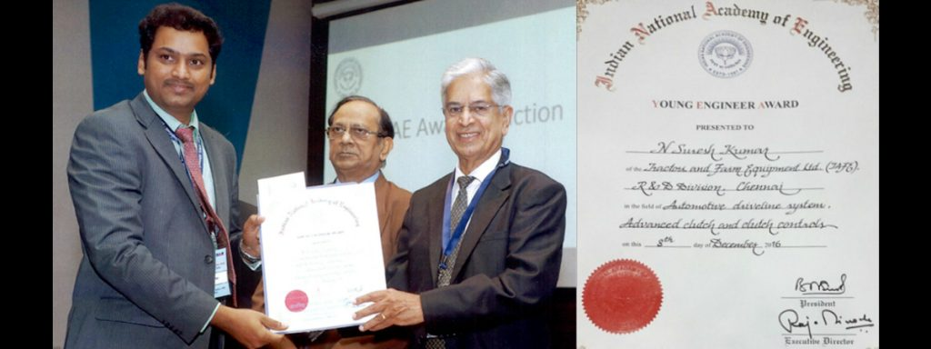 TAFE's Suresh Rao from R&D conferred the INAE Young Engineers Award 2016
