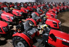 A fleet of MF 6028 - premium compact utility tractors that were delivered to over 100 farmers in Nashik Maharashtra