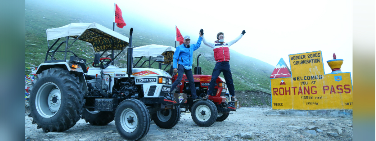 Eicher tractors drive through the highest motor-able road in the world