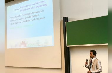Asif Basha K from TAFE R&D presents a paper at the 2016 Leuven Conference on Noise and Vibration Engineering